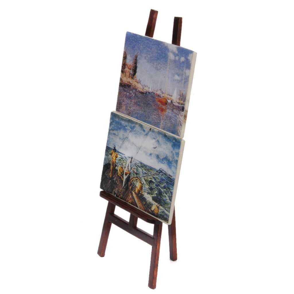 1:12 Doll house Miniature artist easel with 2 paintings pictures B8T1