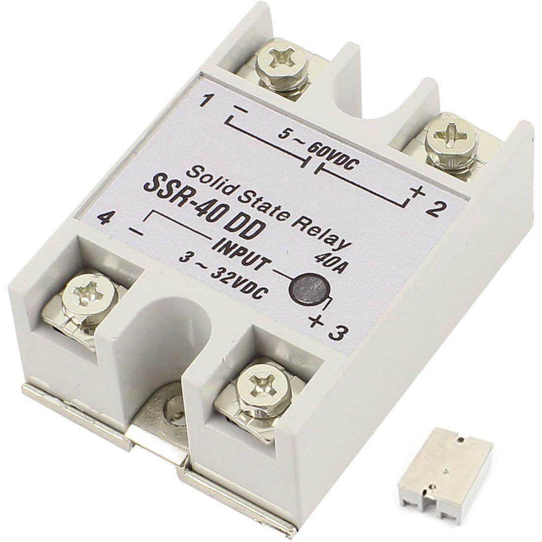 Single Phase Solid State Relay DC-DC SSR-40DD DC3-32V DC5-60V White+ ...