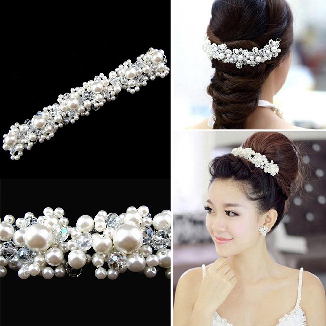 Wedding Bridal Hair Ornament Pearl Head Dress Wedding Reception O9b1 ...
