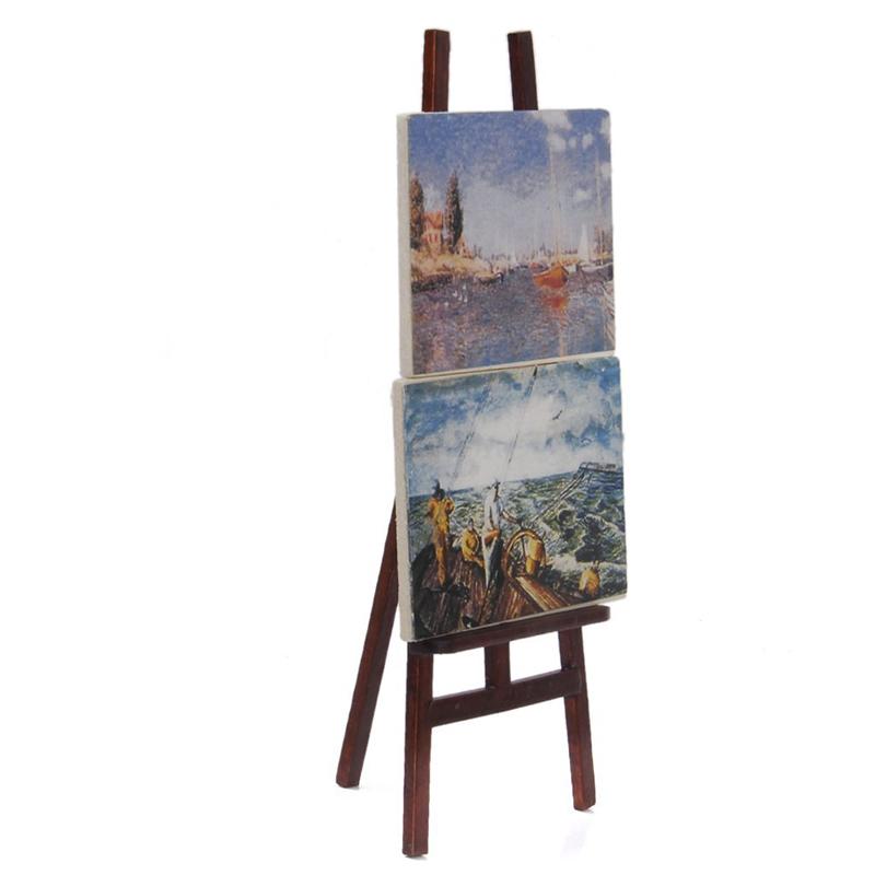 Chevalet D'artiste Avec 2 Tableaux De Miniature De 1:12 Bollhouse Q1h4 1u