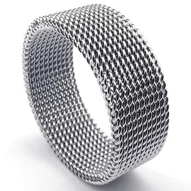 Bijoux-Bague-en-acier-inoxydable-Bague-en-mailles-flexible-en-acier-inoxyda-O2Q1 miniature 3