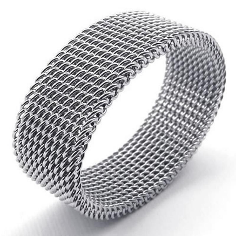 Bijoux-Bague-en-acier-inoxydable-Bague-en-mailles-flexible-en-acier-inoxyda-O2Q1 miniature 4