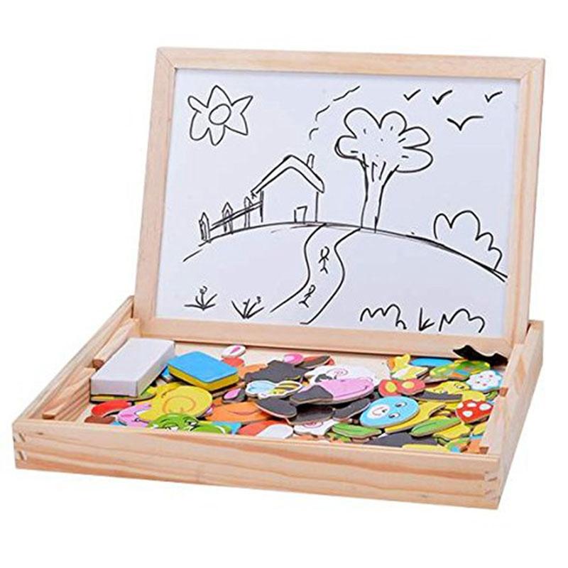 Baby-Lernspielzeug-Staffelei-Magnetic-Doodle-Kinder-aus-Holz-Zeichnung-Tafe-E9H3 Indexbild 5