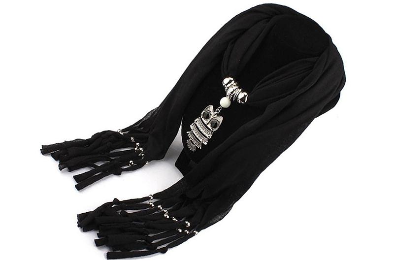 1 sur 3Livraison gratuite bijoux echarpe de chale frangee de pendentif  hibou pour femmes (noir) F7M3 a2602afc8f45