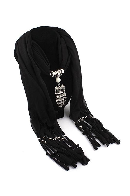 bijoux echarpe de chale frangee de pendentif hibou pour femmes (noir) F7M3 c531384d5e76