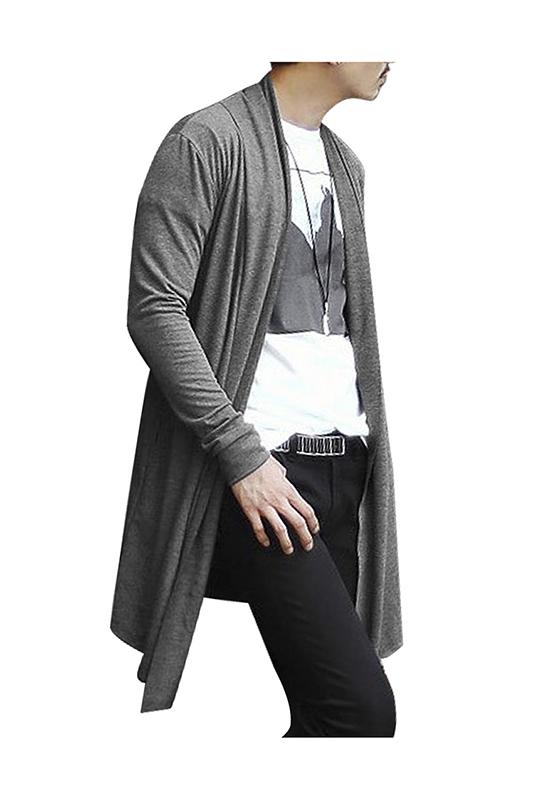 Cardigan-largo-de-dobladillo-bajo-alto-cuello-de-chal-de-hombre-Negro-XXL-D6R8 miniatura 9