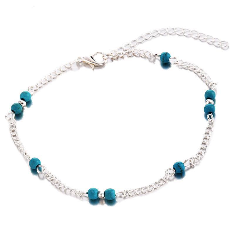 Womens Turquoise Beads Infinity in lega con cinturino alla cavigliera X4F1 P8R0