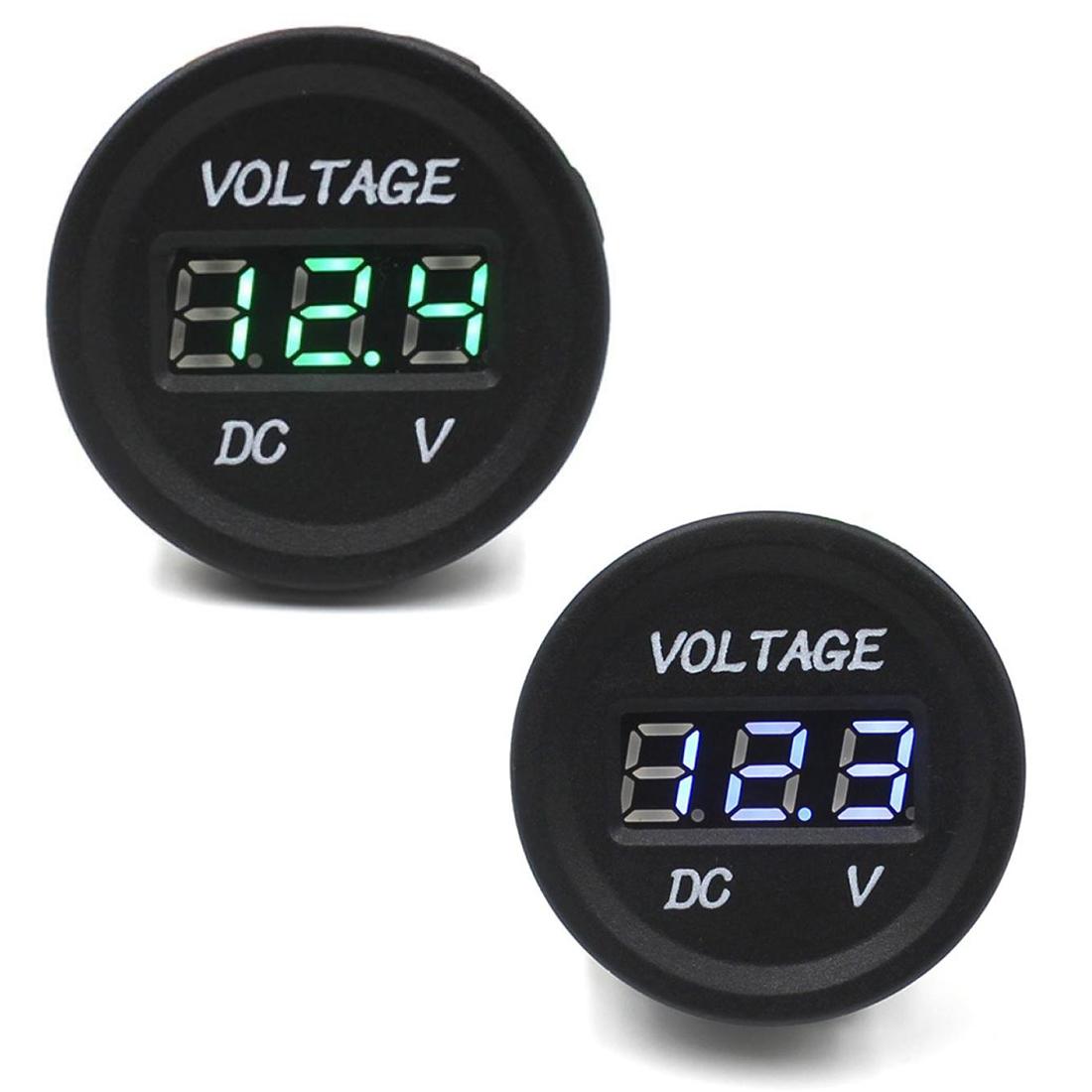 Car-Motorcycle-Waterproof-LED-Digital-Display-Voltmeter-12V-24V-DC-Blue-Q9J3