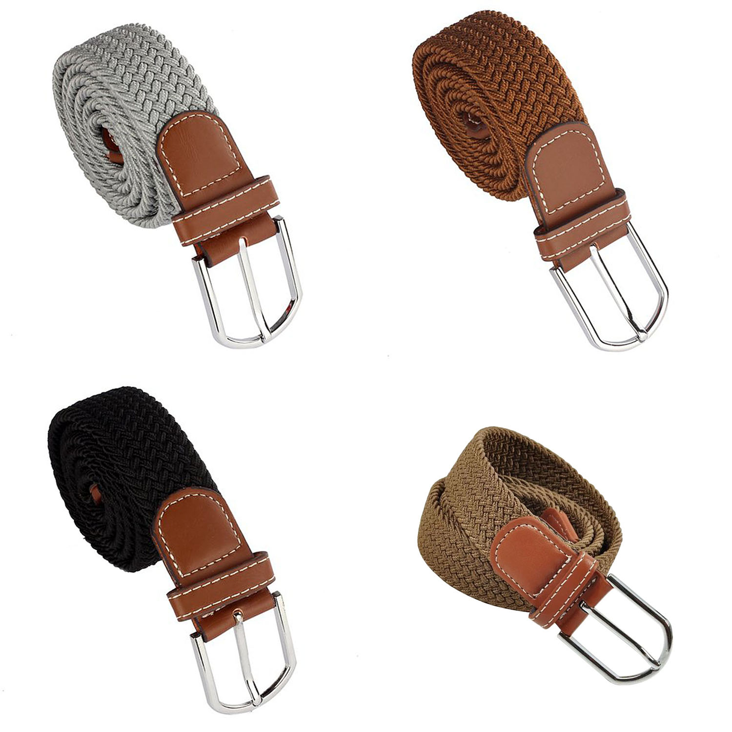 Details about 1X(Men Leather Braided Elastic Stretch Metal Buckle Belt Waistband Z7L7)