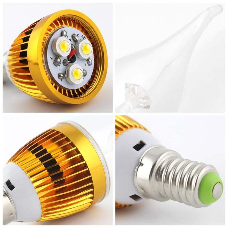 10pcs 3w e14 270lm 2800k 3000k warmweiss led kerzen lampe shell farbe gold d1s9 ebay. Black Bedroom Furniture Sets. Home Design Ideas