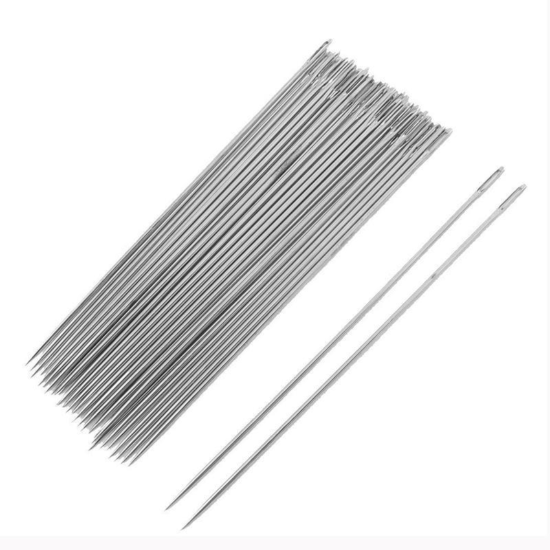 "30pzs Tono de plata Agujas de costura de metal 3.5"" largo O9N4"