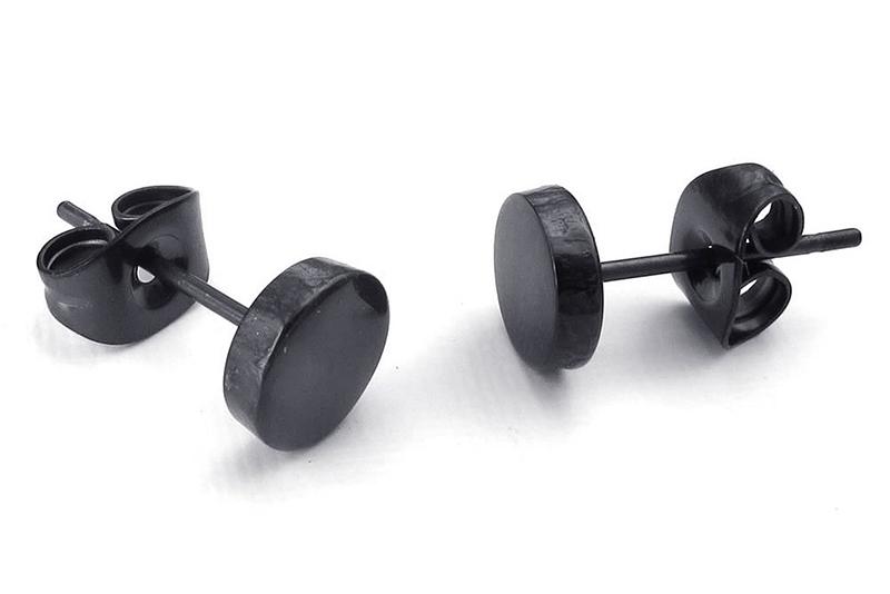 Schmuck-Herren-Ohrringe-6mm-Kreis-Ohrstecker-2pcs-1-Paar-Edelstahl-Schwa-SC