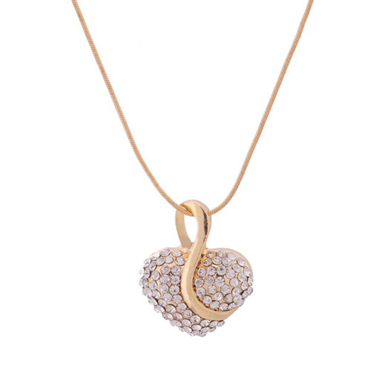 Crazy Feng Fashion New Yellow Gold Plated Heart Clear Crystal Necklace K1X8