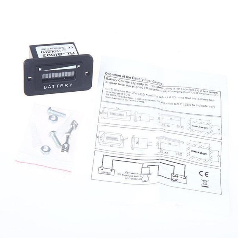 battery status charge indicator monitor meter gauge led digital 12v  u0026 24v s2h1 190268348935