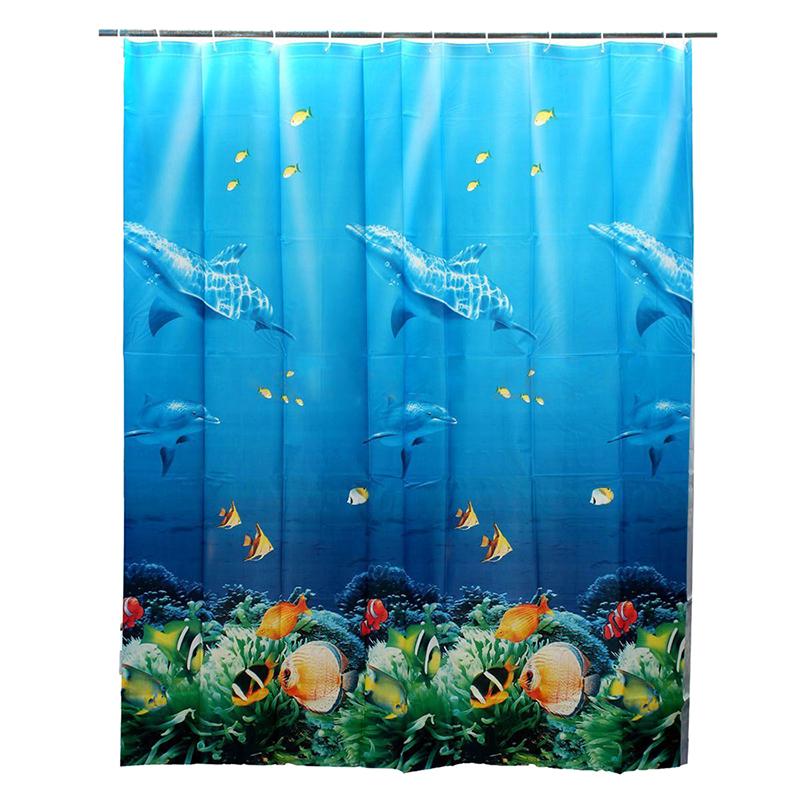 20X(180x180cm Cortina de ducha de Couleur del oceano de pescados delfin del m 1B2)