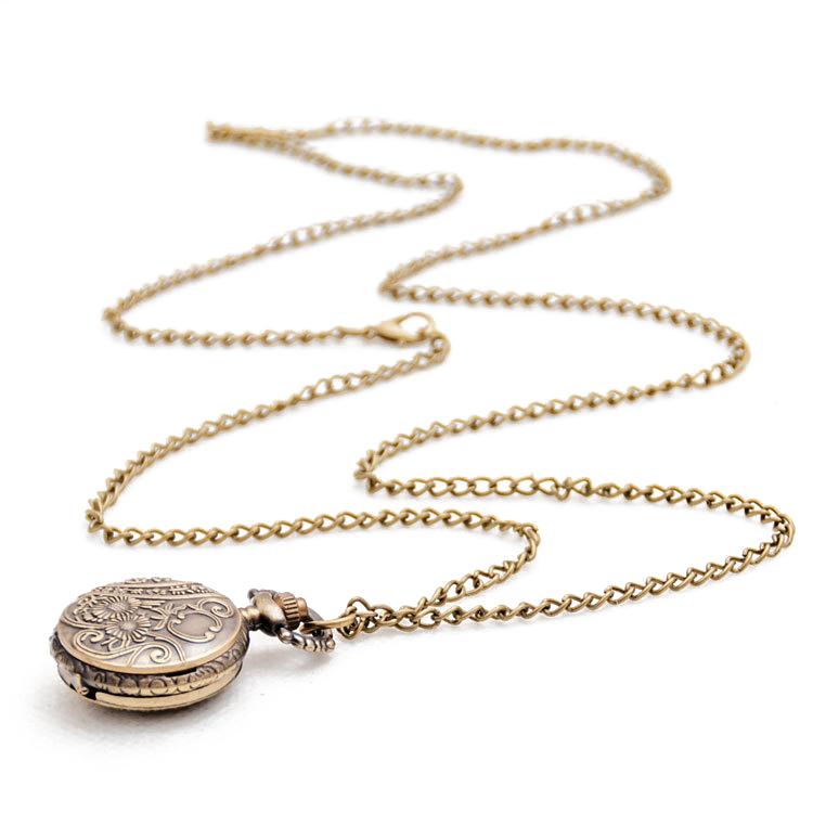 thumbnail 2 - Fashion-Vintage-Retro-Bronze-quartz-watch-pocket-Chain-pendant-necklace-R5S5