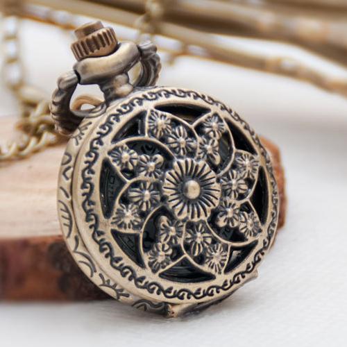 thumbnail 3 - Fashion-Vintage-Retro-Bronze-quartz-watch-pocket-Chain-pendant-necklace-R5S5