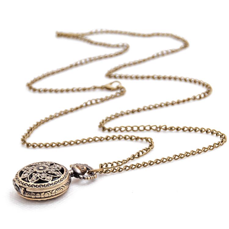 Fashion-Vintage-Retro-Bronze-quartz-watch-pocket-Chain-pendant-necklace-R5S5