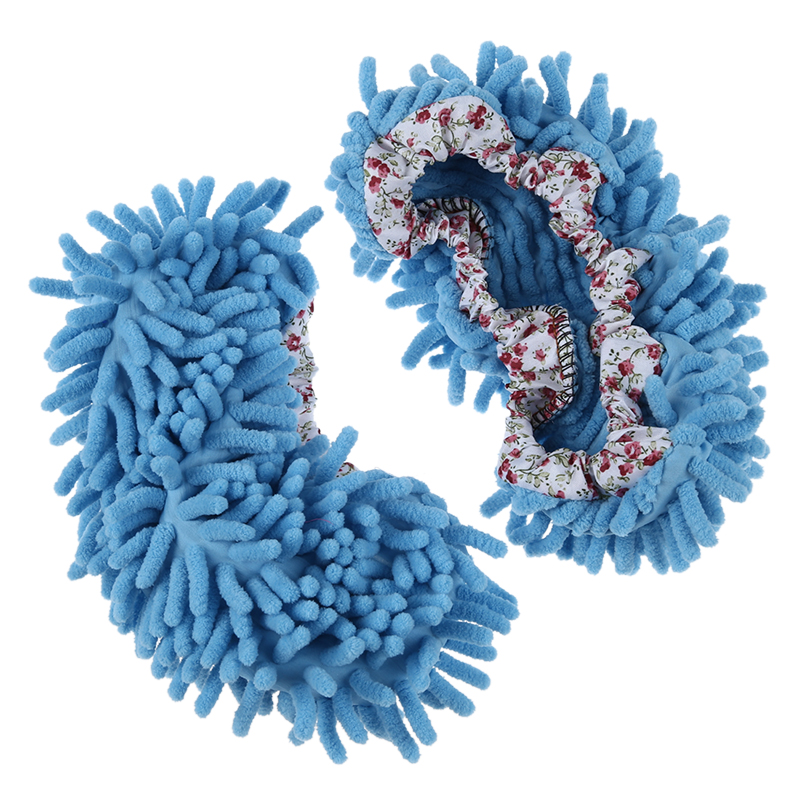 1-Pairs-Comfortable-Dust-Mop-Slippers-Shoes-Floor-Cleaner-Blue-J2E4