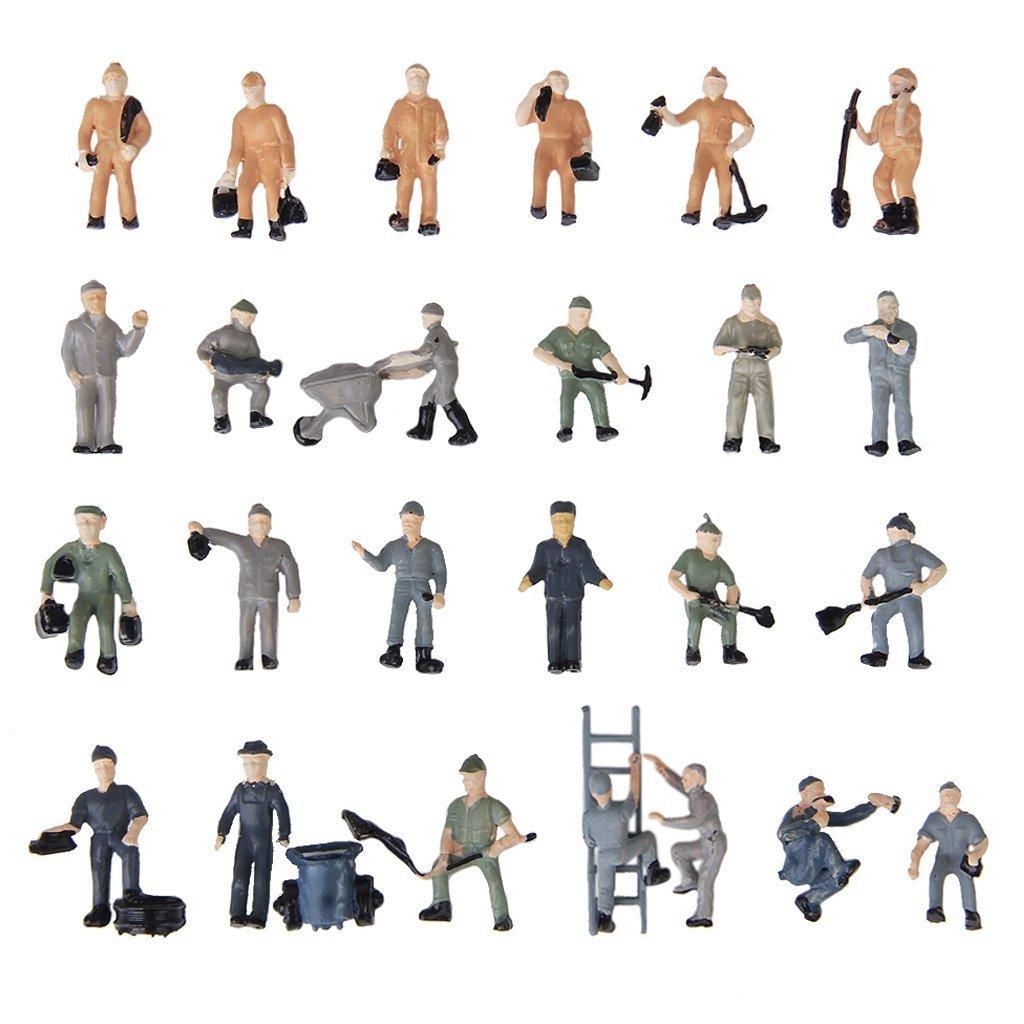 25 Stueck Bemalte Figuren 1:87 Figuren Eisenbahner Miniaturen mit Eimer und G6J5