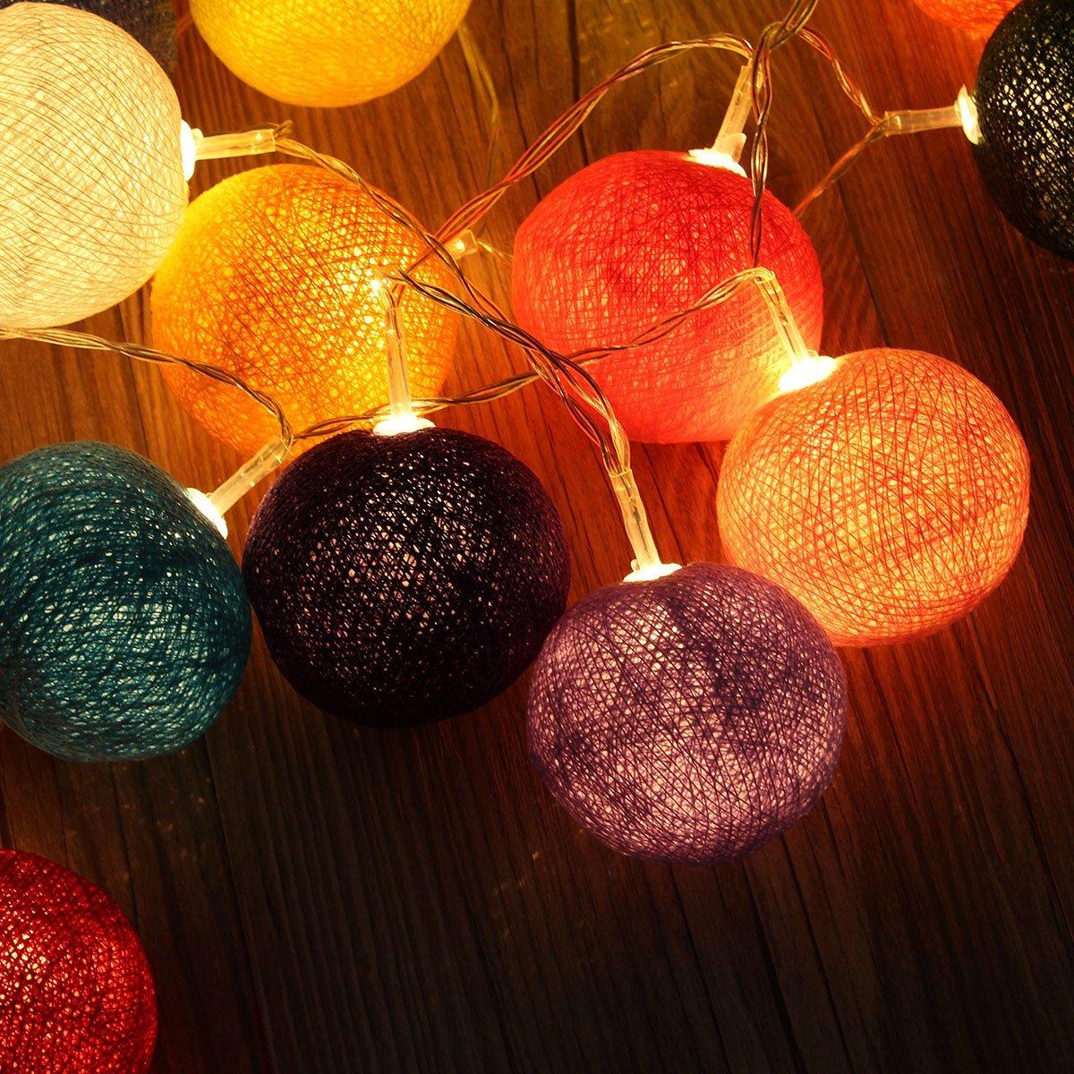 helles led licht 20 string kugeln farbe lampe dekor fuer party hochzeit wei dkko ebay. Black Bedroom Furniture Sets. Home Design Ideas