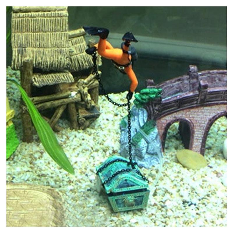 1X-treasure-Treasure-hunter-Diver-Decoration-for-Aquarium-Fish-Tank-M9Q7 thumbnail 3