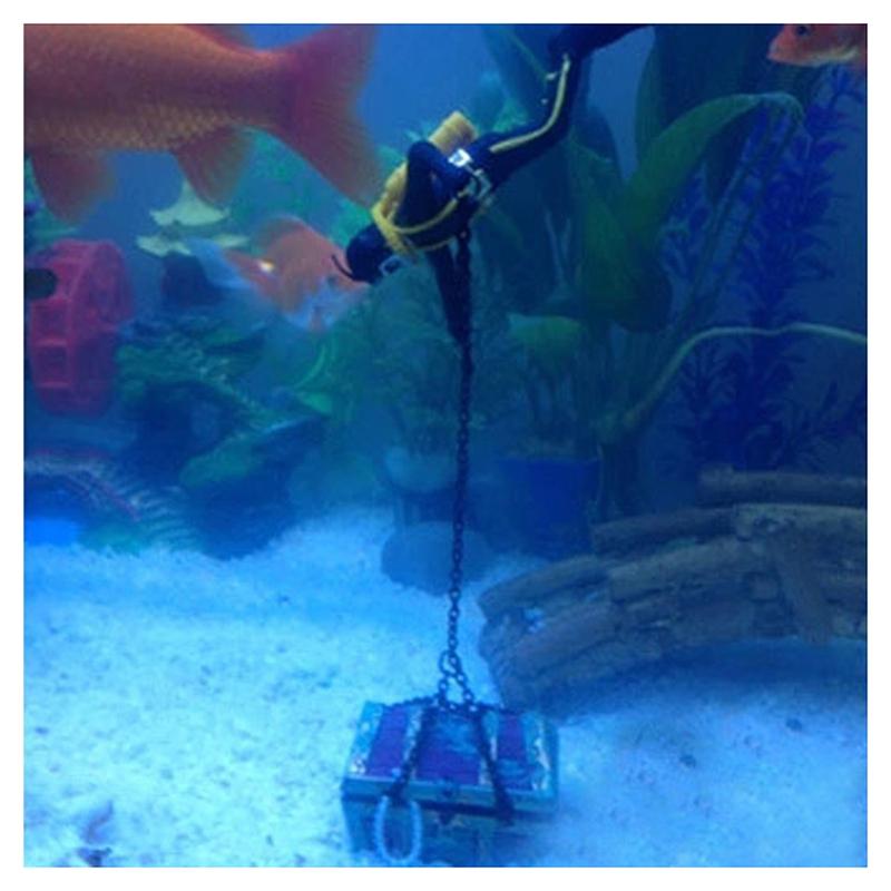 1X-treasure-Treasure-hunter-Diver-Decoration-for-Aquarium-Fish-Tank-M9Q7 thumbnail 4