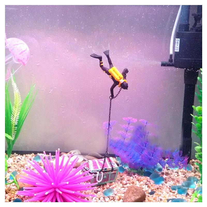 1X-treasure-Treasure-hunter-Diver-Decoration-for-Aquarium-Fish-Tank-M9Q7 thumbnail 5