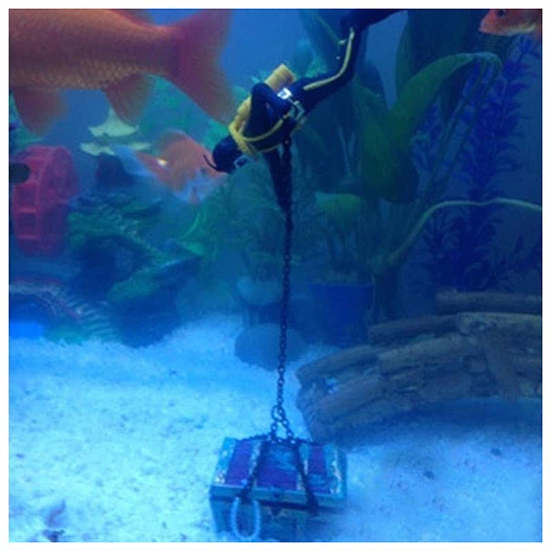 1X-treasure-Treasure-hunter-Diver-Decoration-for-Aquarium-Fish-Tank-M9Q7 thumbnail 9
