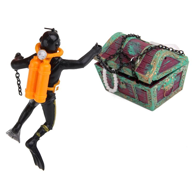 1X-treasure-Treasure-hunter-Diver-Decoration-for-Aquarium-Fish-Tank-M9Q7 thumbnail 10