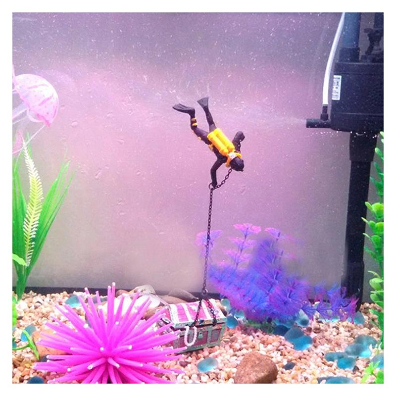 1X-treasure-Treasure-hunter-Diver-Decoration-for-Aquarium-Fish-Tank-M9Q7 thumbnail 11