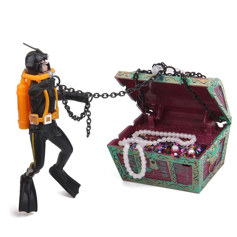 1X-treasure-Treasure-hunter-Diver-Decoration-for-Aquarium-Fish-Tank-M9Q7 thumbnail 13