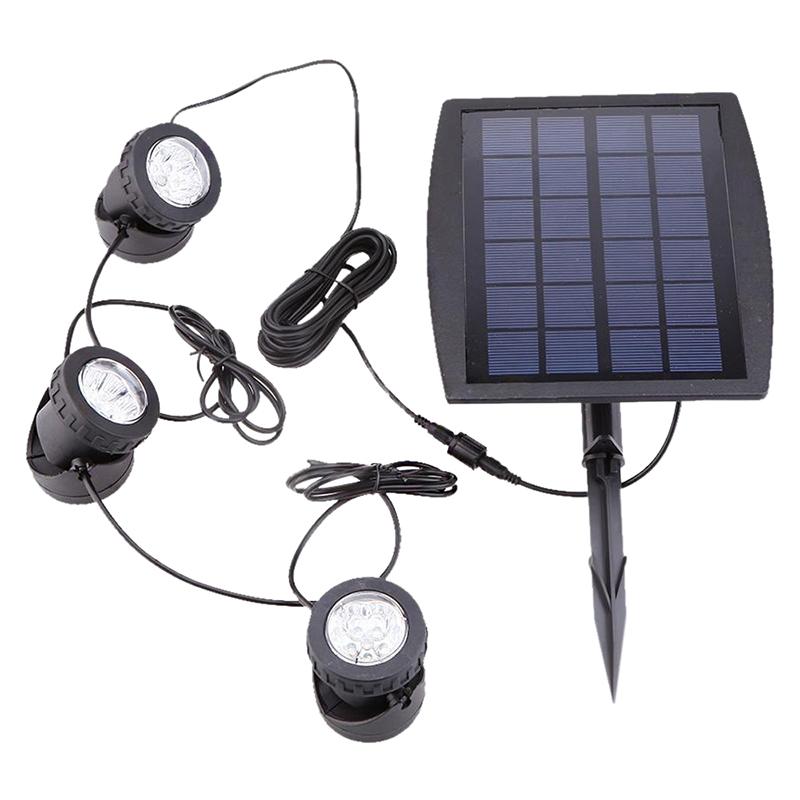 2X(Outdoor Solar Powerot LED 3 RGB Spotlight Garden Pool Pond Yard Farbeful I5M6
