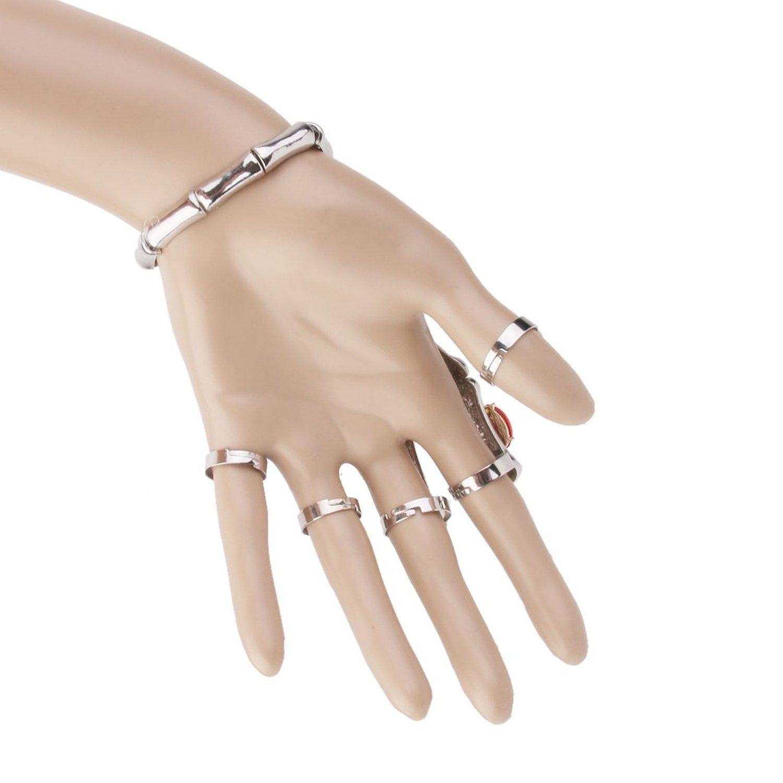Fashion Punk Silver Skeleton Hand Finger Bracelet Slave Ring J6w1