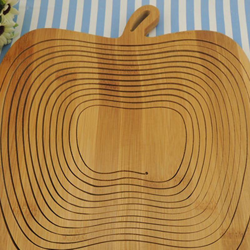 Foldable Basket Wood Log J6C1 Basket in Bamboo in Form of Apple for Fruits