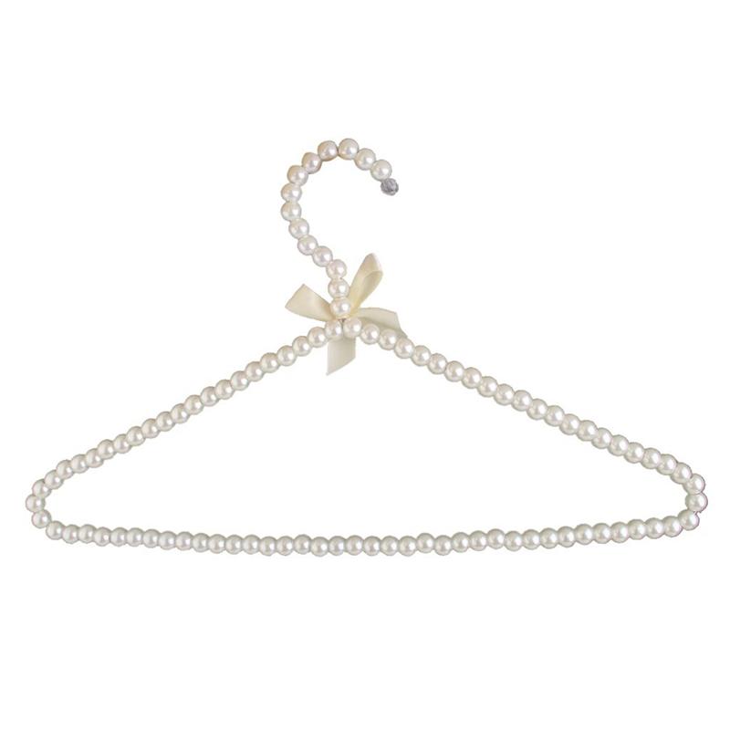 5X(Percha de perla de plastico blanco con lazo para los adultos los 39cm V3I8)