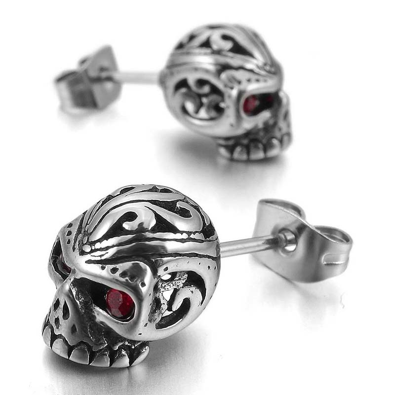 5XStainless Steel Stallion Cz Cubic Zirconia Silver Red Skull Gothic Men D3N4