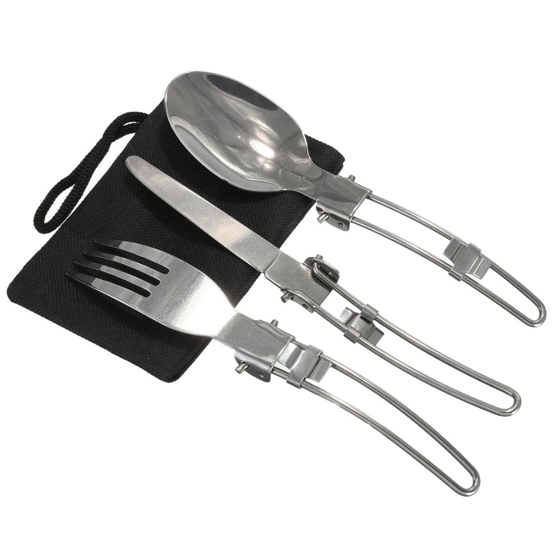 acier inoxydable pliable couteau fourchette cuillere. Black Bedroom Furniture Sets. Home Design Ideas