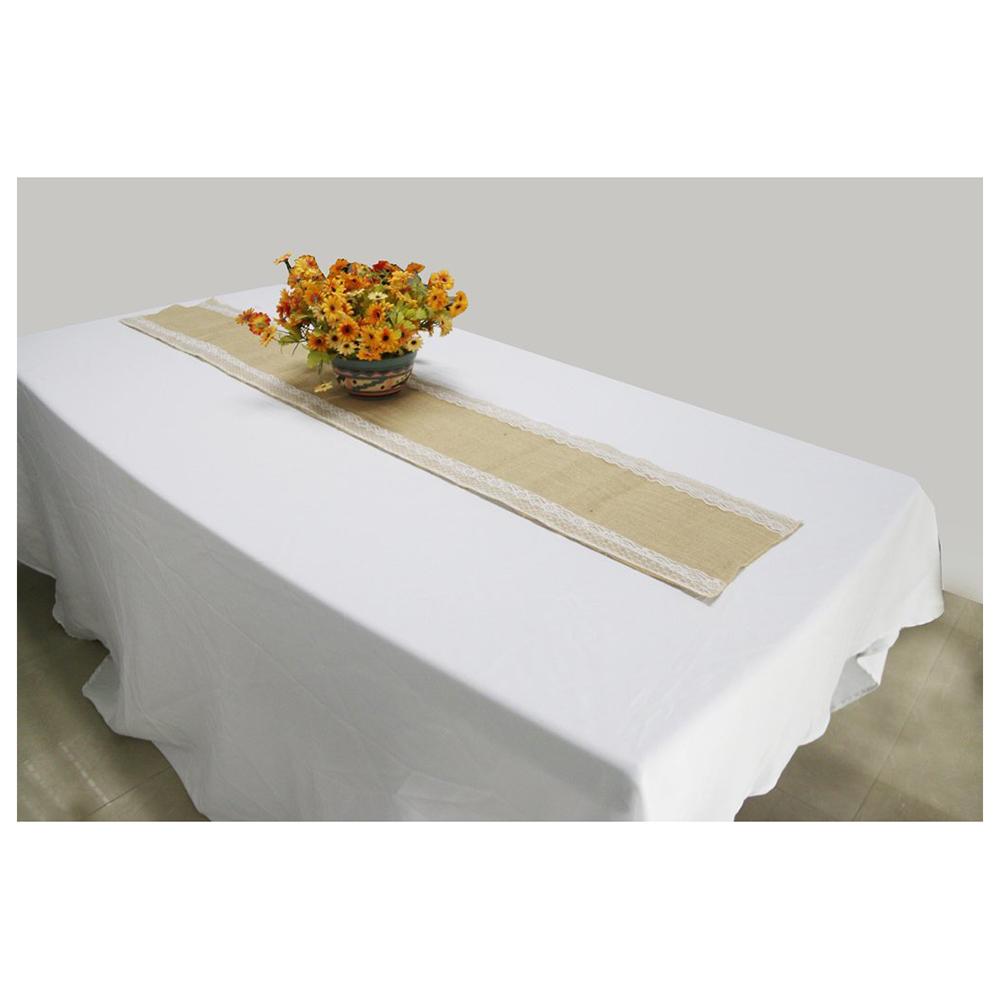 2x chemin de table en jute vintage bordure en dentelle decoration pour maison y3 ebay. Black Bedroom Furniture Sets. Home Design Ideas
