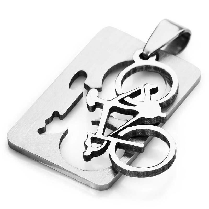 Cadena plata 58cm J6 Collar colgante de Bicicleta Acero Inoxidable para hombres