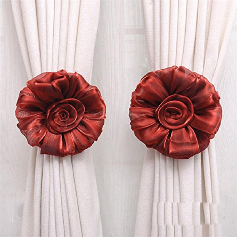 1pair-Fleur-Rose-Rideau-De-La-Fenetre-Embrasse-Pince-Boucle-Crochet-De-Fixa-R5O6 miniature 11