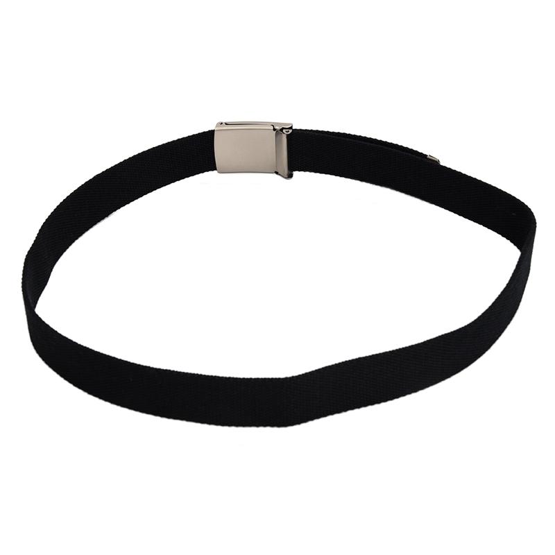 2X-Unisex-Plain-Webbing-Canvas-Metal-Buckle-Belt-T6D3 thumbnail 4