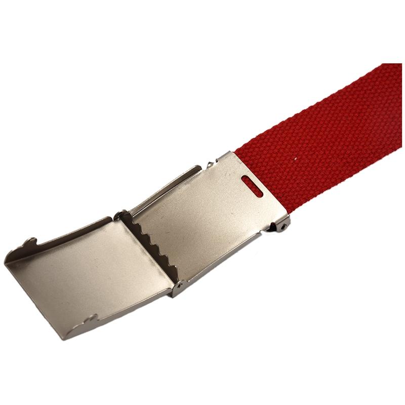 Unisex Plain Webbing Canvas Metal Buckle Belt Y1N3