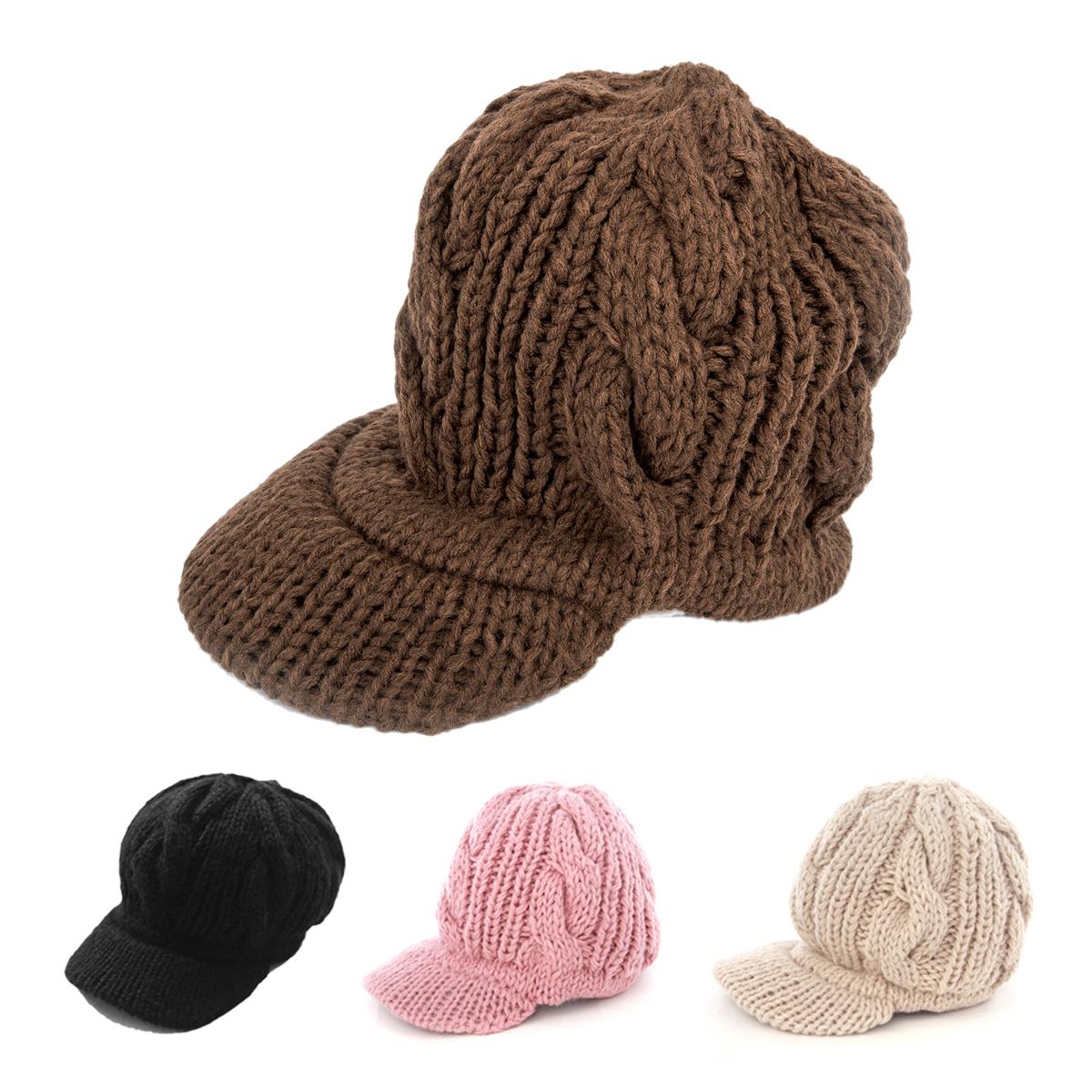 Women Slouchy Cabled Pattern Knit Beanie Crochet Rib Hat Warm - Black FK eBay