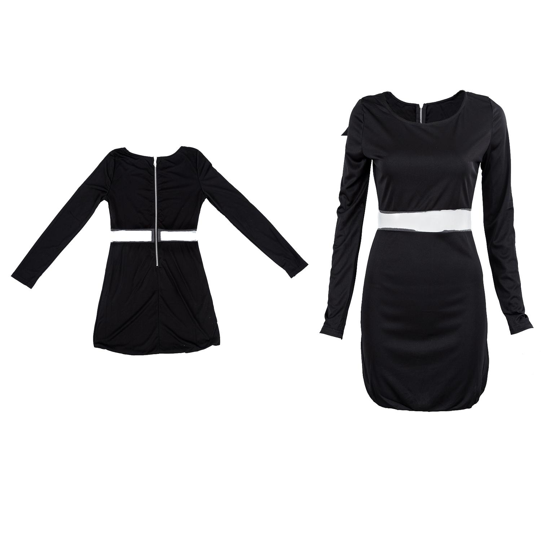 Vestido negro mini corto de fiesta coctel delgado manga larga mujer ... e953d0839cdb
