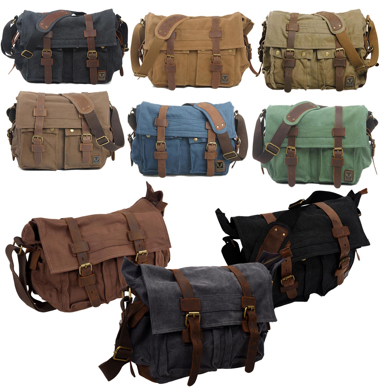 527721b0d9eb Details about MUCHUAN Men s Vintage Canvas Leather School Shoulder Bag  Messenger Sling C Q1C3)