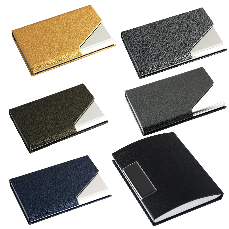 2x Metall Visitenkartenhalter Geschaeftsgittermuster Karton