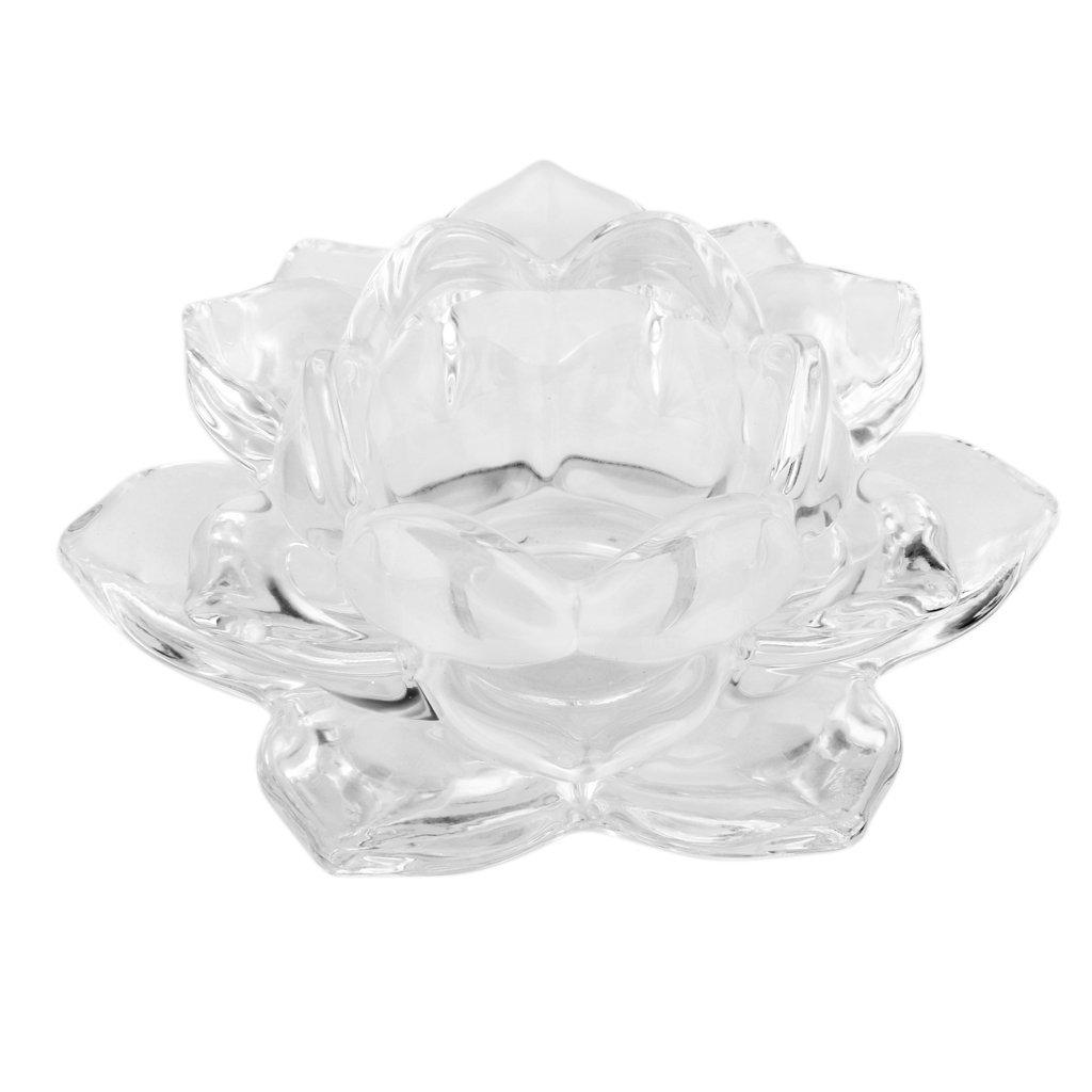 Transparent lotus kerzenhalter aus glas teelicht for Kerzenhalter aus glas