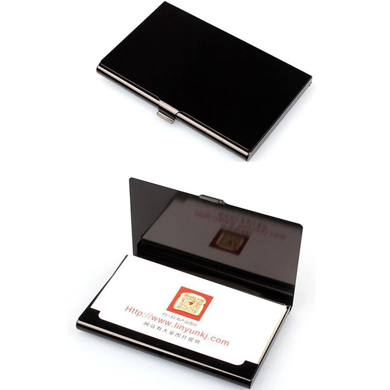 2X-Porte-cartes-de-visite-en-acier-inoxydable-Couverture-de-boite-en-metal-D9H4 miniature 3