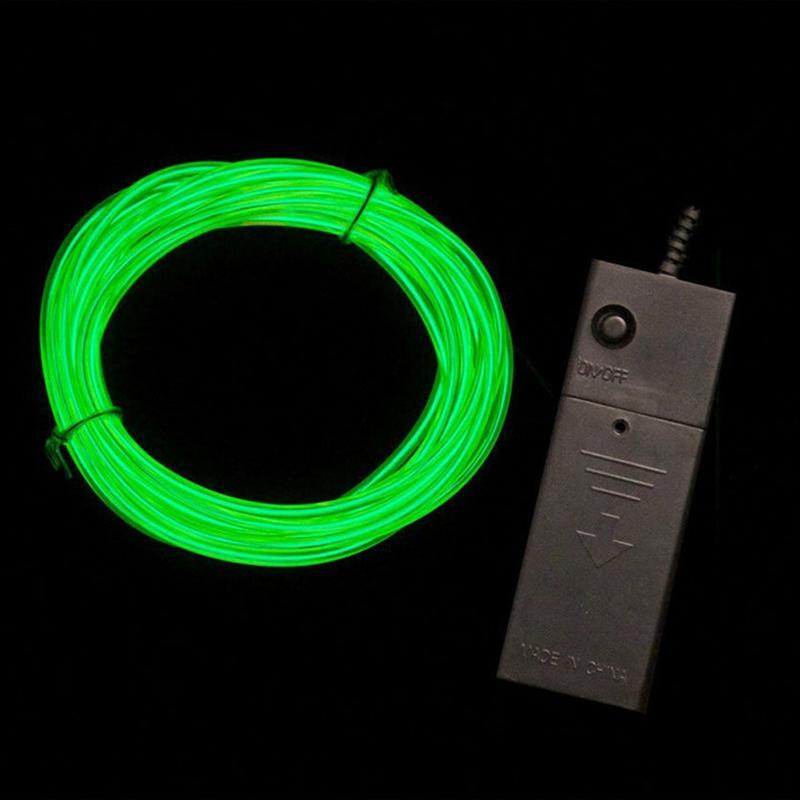 Fil-Electroluminescent-Fil-de-Neon-Lumineux-El-Fil-avec-Controleur-de-Pile-SC miniature 10